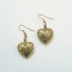 Gold Tone Double Sided Etched Heart Drop Earrings